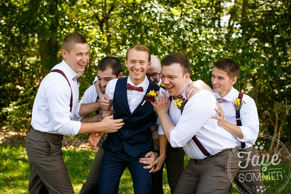 Groom with groomsmen by Dayton Ohio Wedding Photographer