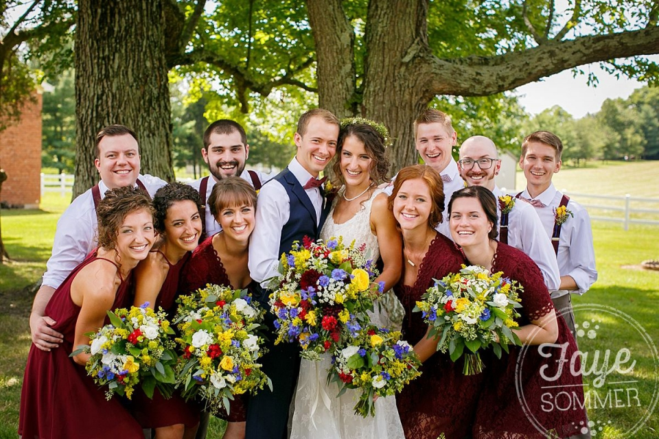 Bridal party captured by Dayton Ohio Wedding Photographer