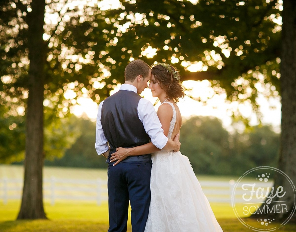 Bride and groom at sunset by Dayton Ohio Wedding Photographer